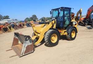 Caterpillar 908M Wheel Loader with Forks and Bucket