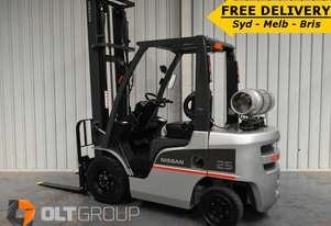 Nissan 2.5 Ton Forklift 4.5m Lift Height Sideshift Fork Positioner LPG