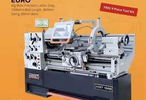 New EURO Industrial Precision Lathe 80mm Spindle Bore, 1000mm Bed - Fully Packed