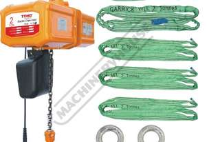 TECH0206 Electric Chain Hoist Package Deal 2 Tonne x 6 Metre Lift, 3m/min. Lift Speed Includes 12 Sl