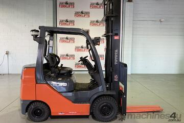 2014 TOYOTA COMPACT 62-8FDK 3 TONNE DEISEL FORKLIFT 2 STAGE 4500 mm CLEARVIEW MAST LOCATED COOPERS P