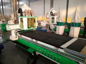 CNC router with unloading table twin 6KW spindles and multi drill head  - picture0' - Click to enlarge