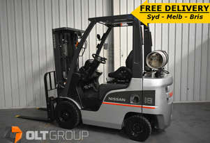 Used Nissan 1.8 tonne forklift Sydney LPG 4.3m lift height sideshift FREE DELIVERY OFFER