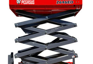 Pegasus 2646 Electric Drive scissor lift WITH optional world first Overhead Warning System