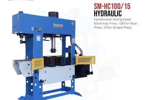 3 in 1 Multi Purpose Hydraulic Workshop Press - 100Ton With 15Ton Broach Press