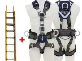 Branach Fibreglass Extension Ladder 3.3 to 5.5m with Exofit Safety Harness - picture0' - Click to enlarge