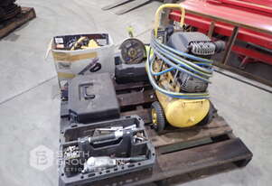 240V COMPRESSOR & TYRE GUAGE, LIGHTS, ANGLE GRINDER, DRILL BITS & ASSORTED SOCKETS