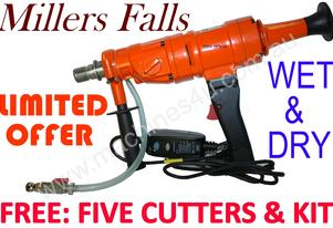 Concrete drill, stand + Free cutters MILLERS FALLS