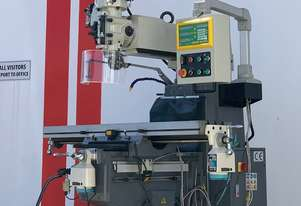 SM-KD4VS. Turret Milling Machne. Pwr Draw Bar, ISO40 Spindle, 2 Axis Power Feed, 3 Axis DRO.