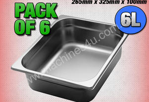 6 PACK OF 1/2 GASTRONORM TRAY 100MM