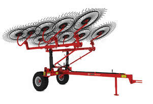 2018 AGROMASTER OTT 120-1 TWELVE WHEEL TRAILING HAY RAKE (7.4M CUT)