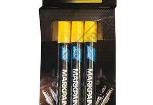 MK975Y3 Yellow Liquid Paint Marker - Weatherproof 3 x Marker Pack Perfect For Indoor Or Outdoor Use