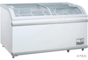 F.E.D. XS-500YX Curved Glass Chest Freezer