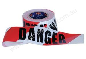 DT10075 WHITE DANGER BARRICADE TAPE 100M X 75MM
