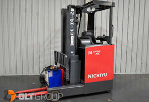 Nichiyu FBRF14 Narrow Aisle Ride Reach Truck Electric Container Mast 4500mm Low Hours