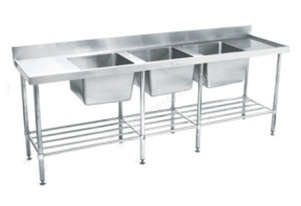 SIMPLY STAINLESS 2400x700x900 TRIPLE SINK BENCH