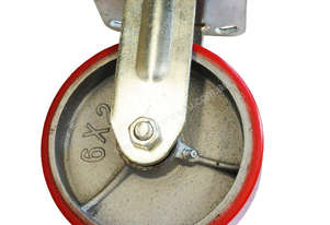 43037 - PU MOULDED CAST IRON WHEEL CASTOR(FIXED)