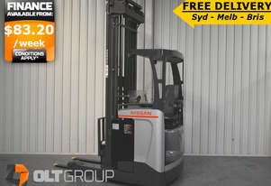 Nissan High Lift Ride Reach Truck 7.95m Mast 2 Tonne Warehouse Forklift FREE DELIVERY SYD MELB BRIS