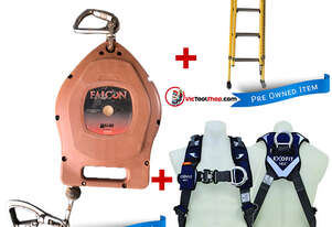 Fibreglass Extension Ladder 2.7 to 3.9m Branach, Fall Arrestor and Exofit Safety Harness