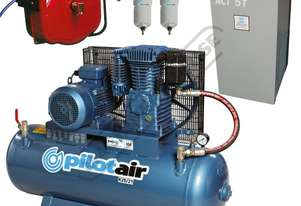K25/21 Industrial Pilot Air Compressor, Refrigerated Air Dryer & Air Hose Reel Package Deal 150 Litr