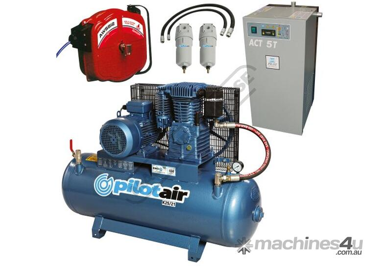 K25/21 Industrial Air Compressor, Refrigerated Air Dryer & Air Hose Reel Package Deal 150 Litre / 5.