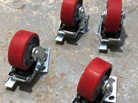 Four (4) 125mm Ball Bearing Industrial Swivel Casters with brakes - picture2' - Click to enlarge