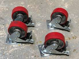 Four (4) 125mm Ball Bearing Industrial Swivel Casters with brakes - picture3' - Click to enlarge