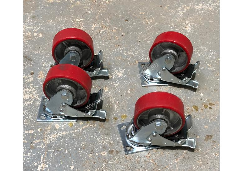 Four (4) 125mm Ball Bearing Industrial Swivel Casters with brakes
