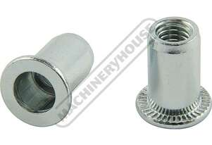 N006 Steel Nut Rivets - 50 Pack Zinc Coated M6 x 1.0mm