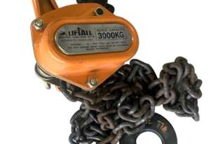 Beaver Liftall New Manual Chain Lever Block 3.0 Ton x 3 meter Drop Chain Winch 3000 kg Lift 3G-V