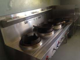Three Hole 18 jet Duckbill Burner Wok Table and two gas burner 'clip on'  - picture2' - Click to enlarge