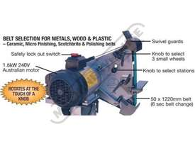 RM-48 Radius Master Pedestal Belt Grinder / Linisher - Series 2 50 x 1220mm Belt Size 7 Work Station - picture3' - Click to enlarge