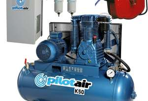 K50 Industrial Pilot Air Compressor, Refrigerated Air Dryer & Air Hose Reel Package Deal 268 Litre /