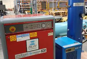 USED PILOTAIR K30SI SILENT COMPRESSOR + SCREW COMPRESSORS 3-IN-1 incl DRYERS/TANKS