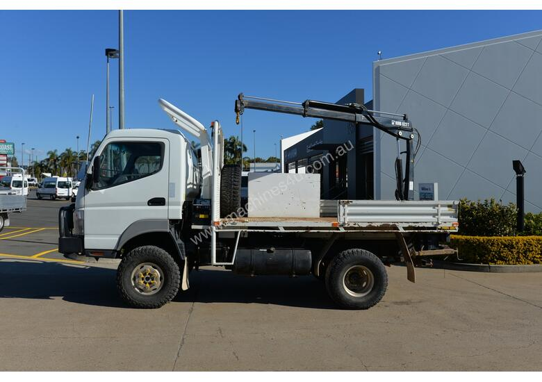 2010 MITSUBISHI FUSO CANTER Tray Truck - 4X4 - Truck Mounted Crane - Tray Top Drop Sides