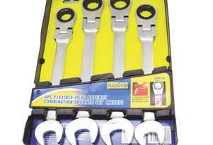 A89702 - 4 PC FLEXIBLE-HEAD RATCHET COMBINATION SPANNER SET MET