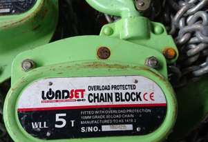 Chain Hoist Block & Tackle 5 ton x 8 mtr lift Load