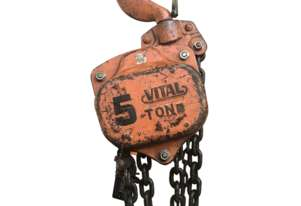 Chain Hoist 5 ton x 6 Meter Drop Block and Tackle Pacific Vitel Shop Crane H5