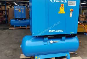 Pneutech 7.5hp Rotary Screw Air Compressor, Compressed Air Dryer, 270L Receiver - 5 YEAR WARRANTY