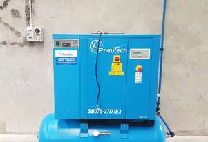 Pneutech 7.5hp Rotary Screw Air Compressor, Integrated Receiver And Refrigerator Dryer