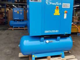 Pneutech 7.5hp Rotary Screw Air Compressor, Integrated Receiver And Refrigerator Dryer - picture3' - Click to enlarge