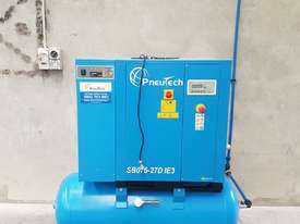 Pneutech 7.5hp Rotary Screw Air Compressor, Integrated Receiver And Refrigerator Dryer - picture0' - Click to enlarge