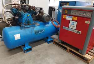 USED PILOTAIR K30SI 5.5Kw SILENT COMPRESSOR + MARKWELL 10hp + AIR DRYERS + VERTICAL TANKS