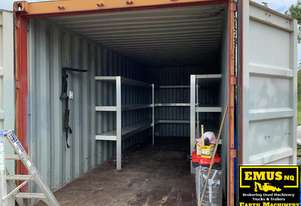 20ft shipping containers with insulated panel shelving.  ASS76