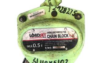 Loadset Chain Hoist Lift Block and tackle 0.5 Tonne x 6 metre chain