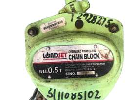Loadset Chain Hoist Lift Block and tackle 0.5 Tonne x 6 metre chain  - picture0' - Click to enlarge