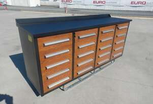 Unused 2.1m Work Bench/Tool Cabinet 20 Drawers