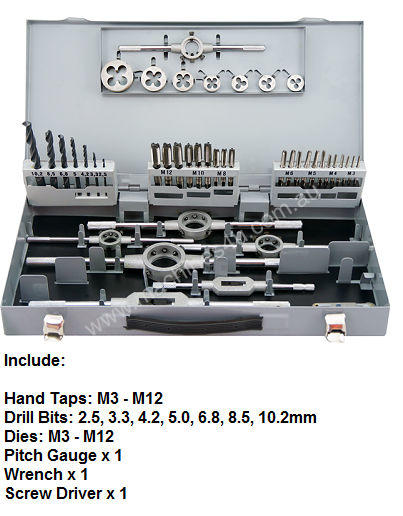HSS Metric Hand Tap, Die and Drill 44pcs