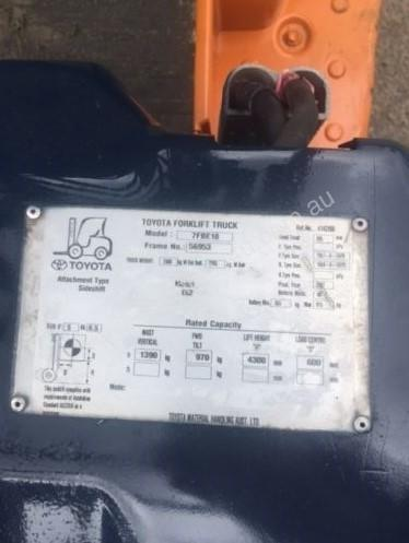 Used electric Toyota 7FBE18 forklift