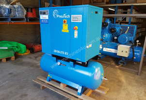 Pneutech 10hp Rotary Screw Air Compressor, Compressed Air Dryer, 270L Receiver - 5 YEAR WARRANTY